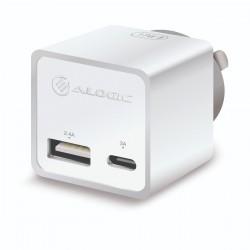 Alogic 2 Port USB Mini Wall Charger (2.4A + 1A - 17W) - White